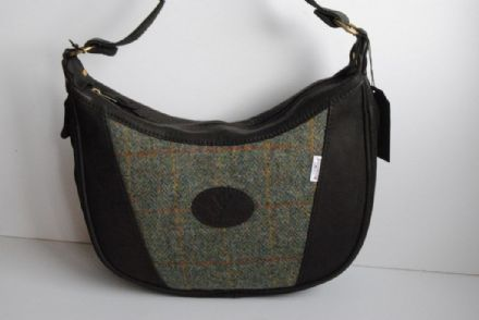 Skye Deer Leather and Harris Tweed Bag Green